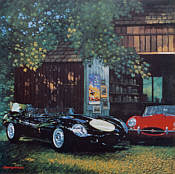 Beauty and Beast - Jaguar D-Type and E-Type by Barry Rowe