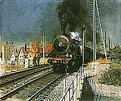 Eisenbahnkunst von Terence Cuneo: A Local Train Pulls Out - P8 230c